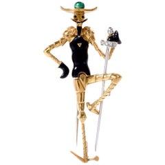 1970s Enamel Diamond Don Quixote of La Mancha 18 Karat Pin
