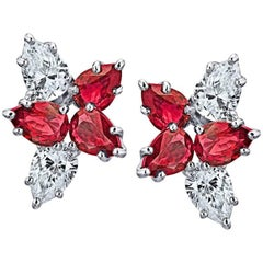 2.55 Carat Pear Shape Red Ruby and Diamond Cluster Earrings