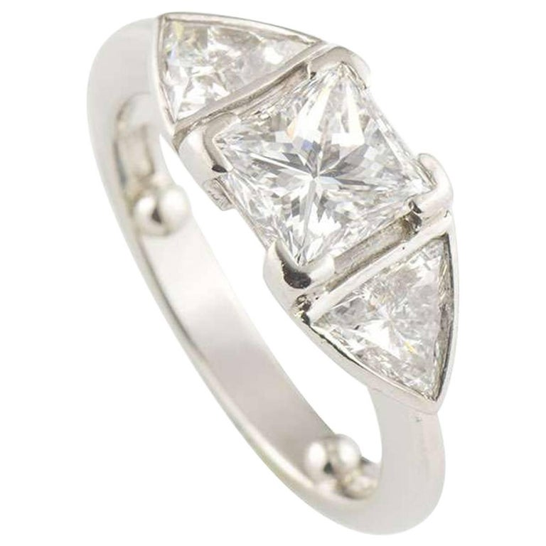 GIA Certified Princess Cut Three-Stone Diamond Engagement Ring 1.07 Carat