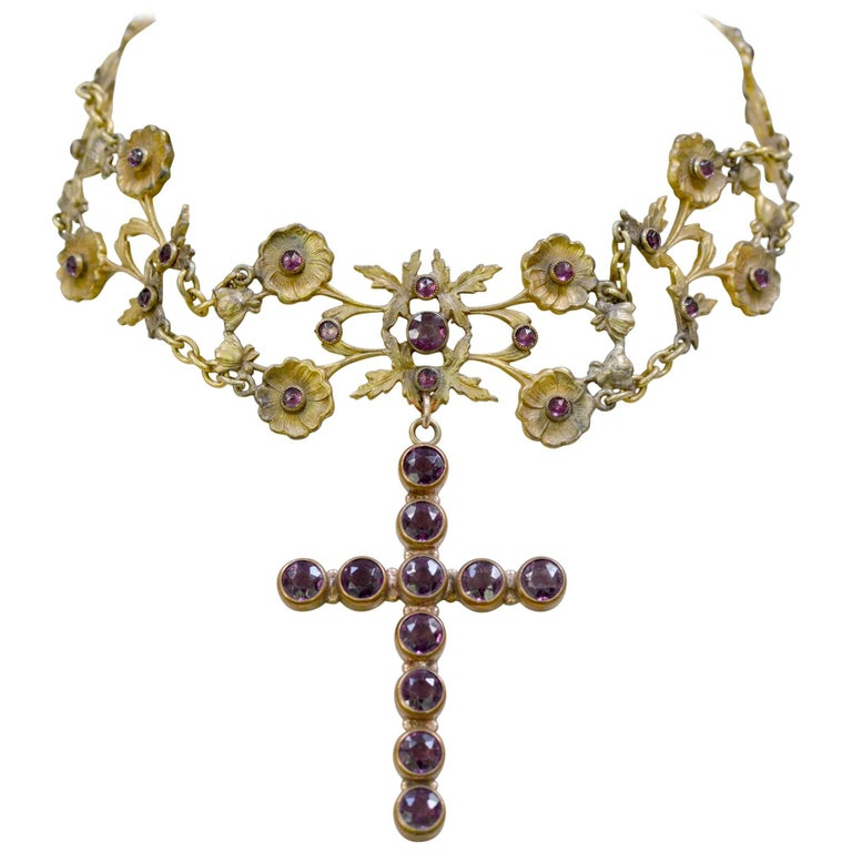 Jill Garber French Art Nouveau Gold Vermeil Figural Choker with Amethyst Cross