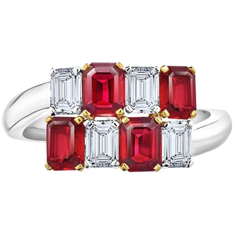 1.81 Carat Emerald Cut Red Ruby and Diamond Platinum and 18k Crossover Ring For Sale