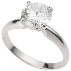 GIA Certified Round Brilliant Cut Diamond Ring 1.55 Carat D Colour