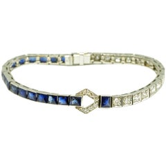 Art Deco Sapphire and Diamond Line Bracelet Bangle, circa 1920