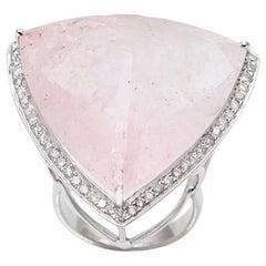 60 Carat Trillion Morganite and Diamonds 18 Karat White Gold Cocktail Ring