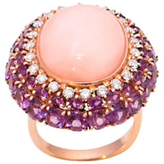 Pink Coral, Amethyst and Diamonds 18 Karat Yellow Gold Cocktail Ring