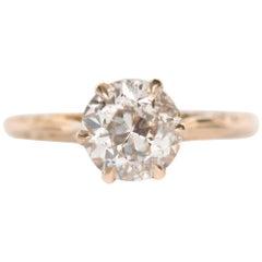 1.75 Carat Diamond Yellow Gold Engagement Ring