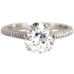 2.28 Carat Old Euro Cut Diamond Engagement Ring