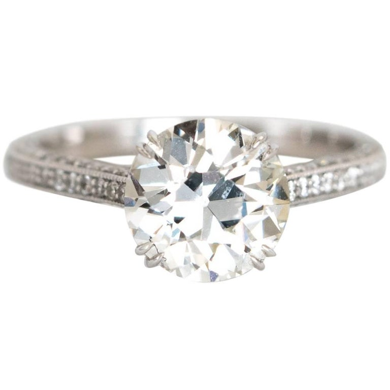 2.28 Carat Old Euro Cut Diamond Engagement Ring