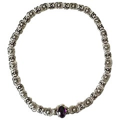 Georg Jensen Sterling Silver Necklace with Amethyst No 12