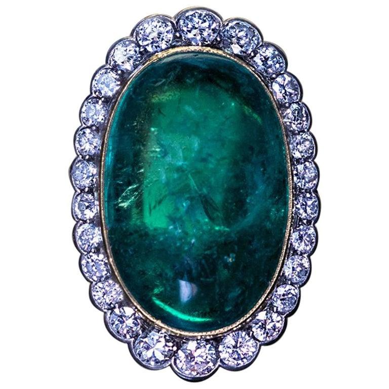 15 Carat Colombian Emerald Diamond Ring