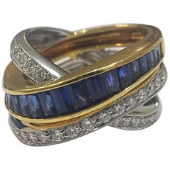 Alfieri & St John Invisibly Set Sapphire and Diamond Crossover Ring