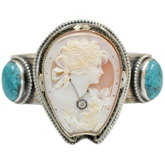 Jill Garber Early Victorian Horseshoe Cameo with Diamond and Turquoise Bracelet