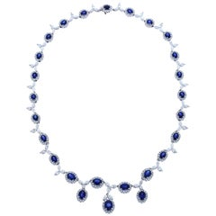 Gregg Ruth 18 Karat White Gold 17.90 Sapphire, 14.40 Total Diamond Necklace