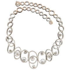 Leo Pizzo 6.18 Carat Graduating Diamond Oval Swirl Necklace