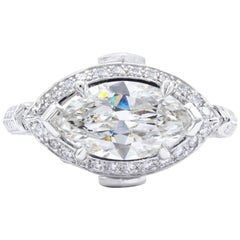 David Rosenberg 1.83 Carat Marquise GIA Halo Platinum Diamond Engagement Ring
