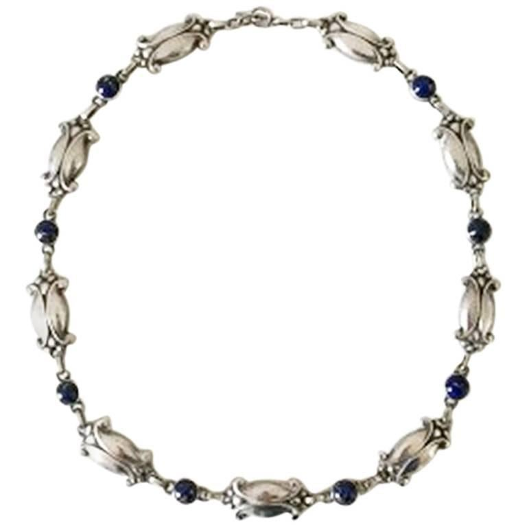 Georg Jensen Sterling Silver Necklace with Lapis Lazuli No 15