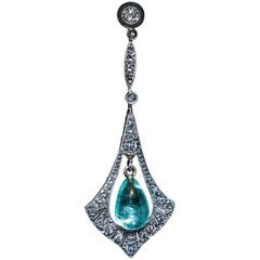 Antique Edwardian Emerald Bead Diamond Pendant
