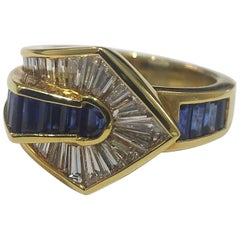 Picchiotti Invisibly Set Diamond and Sapphire Baguette Ring
