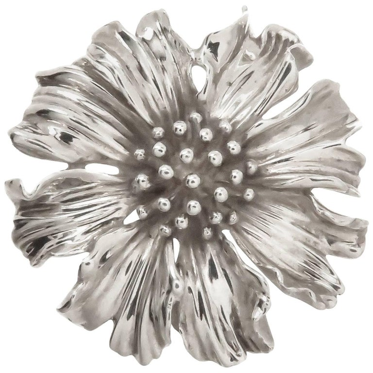 Tiffany & Co. Sterling Alpine Rose Flower Brooch