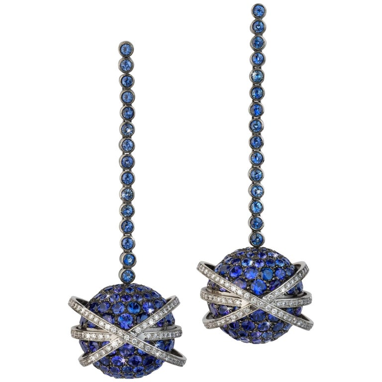Blue Sapphires and Diamonds Valadier Dangle Earrings