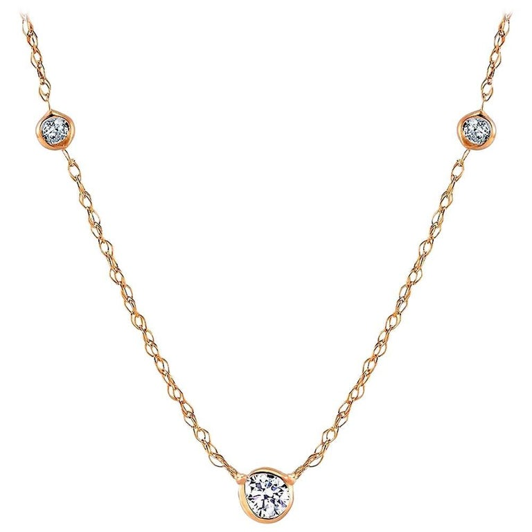 Yellow Gold Three Bezel-Set Diamond Pendant Necklace