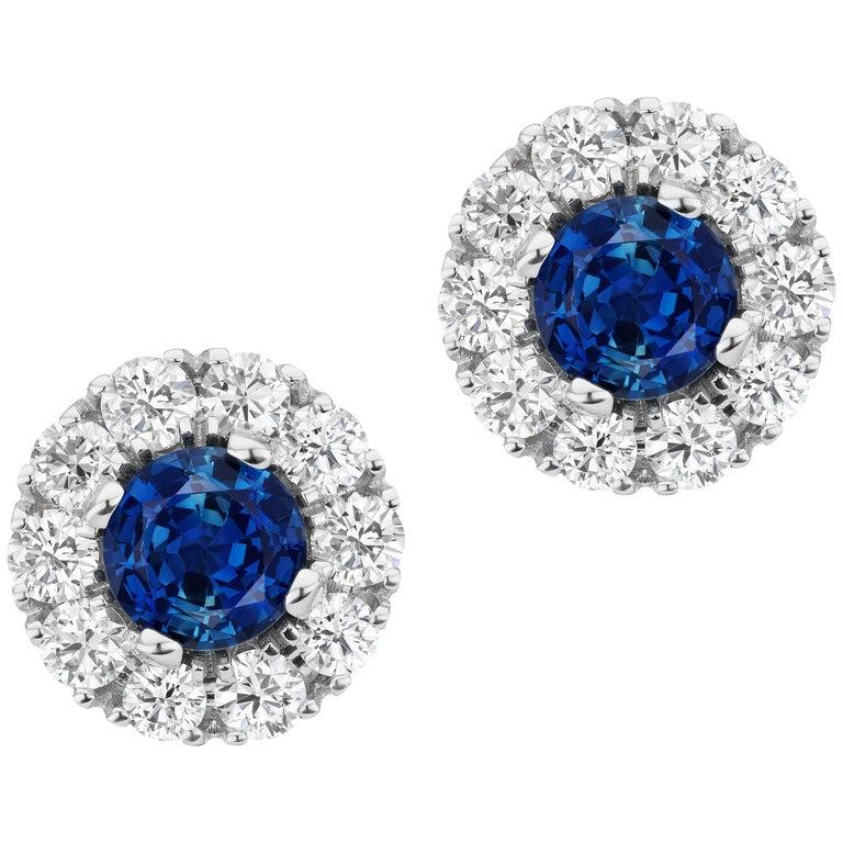 Sapphire and Diamond 14 Karat Gold Stud Earrings