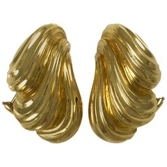 Henry Dunay Heavyweight Scalloped Gold Earrings