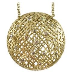 Yossi Harari 18 Karat Yellow Gold Lace Pendant Necklace