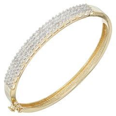 1.80 Carat Three-Row Round Diamond Gold Bangle Bracelet