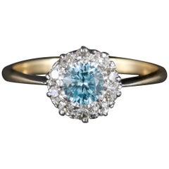 Antique Edwardian Blue Zircon Diamond Cluster Ring, circa 1915