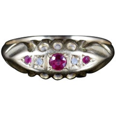 Antique Victorian Ruby Diamond Ring Dated 1892