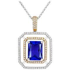 Tivon 18 Carat Two-Tone Gold Emerald Cut AAA+ Tanzanite and Diamond Set Pendant