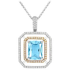 Tivon 18ct Two-tone Gold emerald cut Aquamarine and white Diamond set Pendant