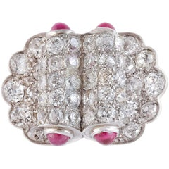 Diamonds Rubyes Platinum Ring