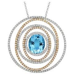 Tivon 18ct Two-tone Gold oval cut Aquamarine & White Diamond set round Pendant