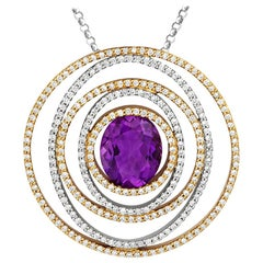 Tivon 18 Carat Two-Tone Gold Oval Cut Amethyst and White Diamond Circle Pendant
