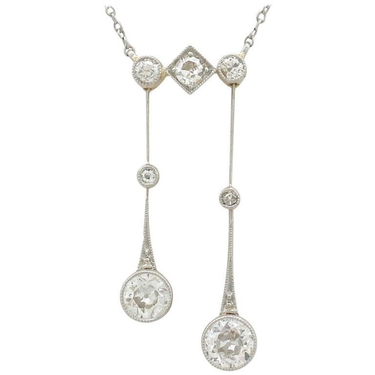 Antique Diamond and Yellow Gold Platinum Necklace