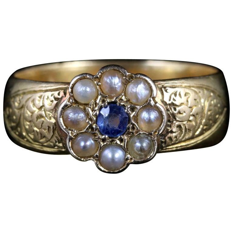 Antique Victorian Sapphire Pearl Wedding Band Ring 18 Carat, circa 1900