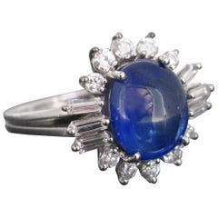 Cabochon Cut Ceylan Sapphire and Diamond Cluster White Gold Band Ring