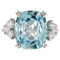 4.71 Carat Cushion Green Blue Aqua Diamond Gold Engagement Ring