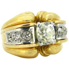 French Retro Ribbed Diamonds Yellow Gold and Platinum Cocktail Ring