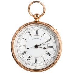 18 Karat Gold 1/5 Centre Seconds Chronograph Pocket Watch, Thomas Carr 1879-1880