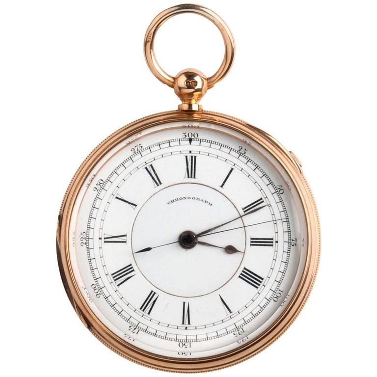 18 Karat Gold 1/5 Centre Seconds Chronograph Pocket Watch, Thomas Carr 1879-1880