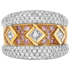 Ambrosi 18 Karat Gold Three Princess Diamond Ring with Pink and White Diamonds