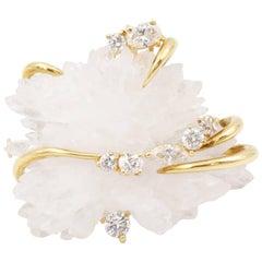 Henry Dunay Diamond and Rock Crystal Brooch, 18 Karat Yellow Gold and Platinum