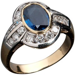 Blue Sapphire and Diamond Ring, Made in Italy, 1990s
