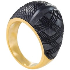 Carvin French Hematite and Gold Bombé Ring