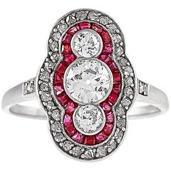Art Deco Diamond Ruby Platinum and Gold Plaque Ring
