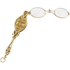Art Nouveau Diamond and Gold Lorgnette