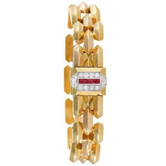 Cartier Paris Retro Diamond Ruby Pink Gold and Platinum Watch